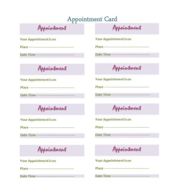 40+ Appointment Cards Templates  Appointment Reminders - sample appointment card template