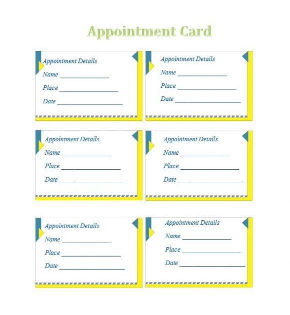 40+ Appointment Cards Templates  Appointment Reminders - card template