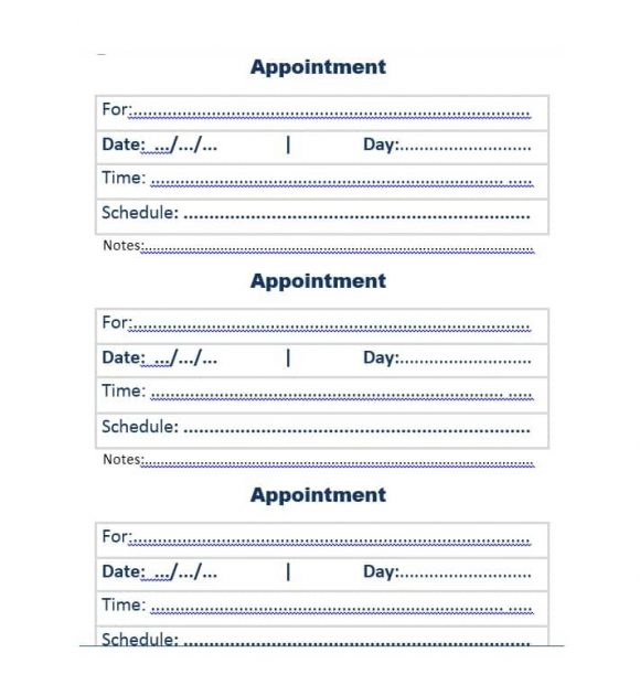 40+ Appointment Cards Templates  Appointment Reminders - appointment cards free templates