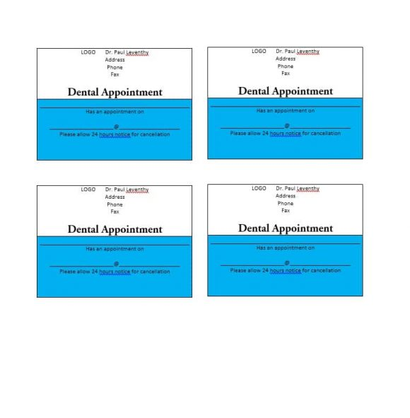 40+ Appointment Cards Templates \ Appointment Reminders - sample appointment card template
