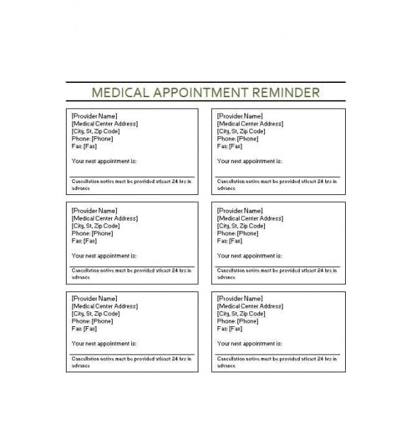 doctor appointment template - Minimfagency - appointment cards free templates