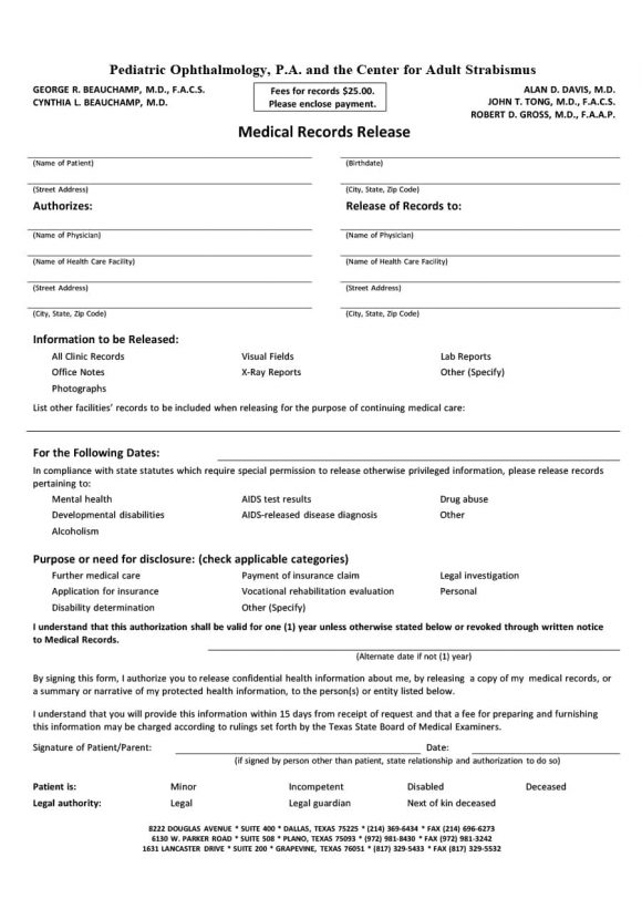 Physician Release Form sample print release form example model - physician release form