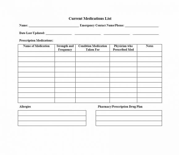 58 Medication List Templates for any Patient Word, Excel, PDF - Medication List Template Excel