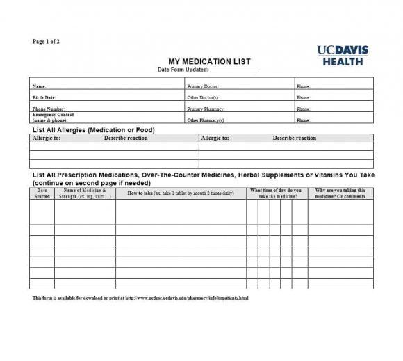 Medicine List Template Image collections - Template Design Ideas