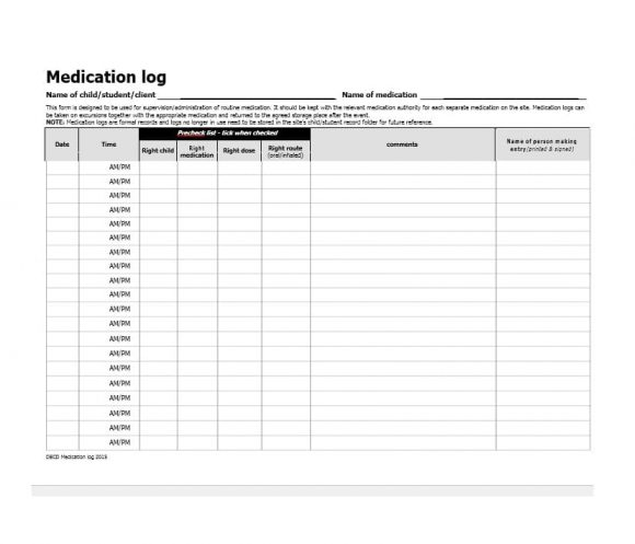 Blank Medication List Templates Images - Template Design Ideas