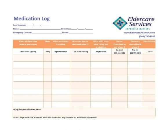 Luxury Medication Log Template Photo - Resume Ideas - namanasa