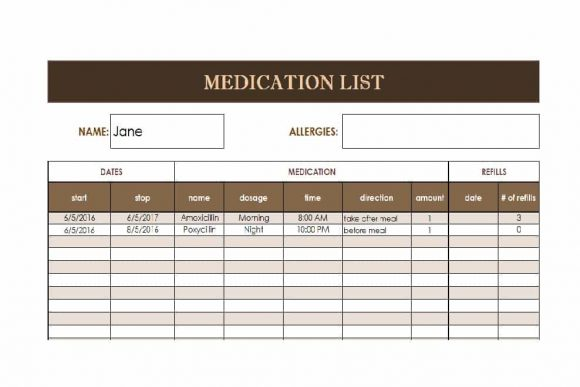 58 Medication List Templates for any Patient Word, Excel, PDF - allergy list template