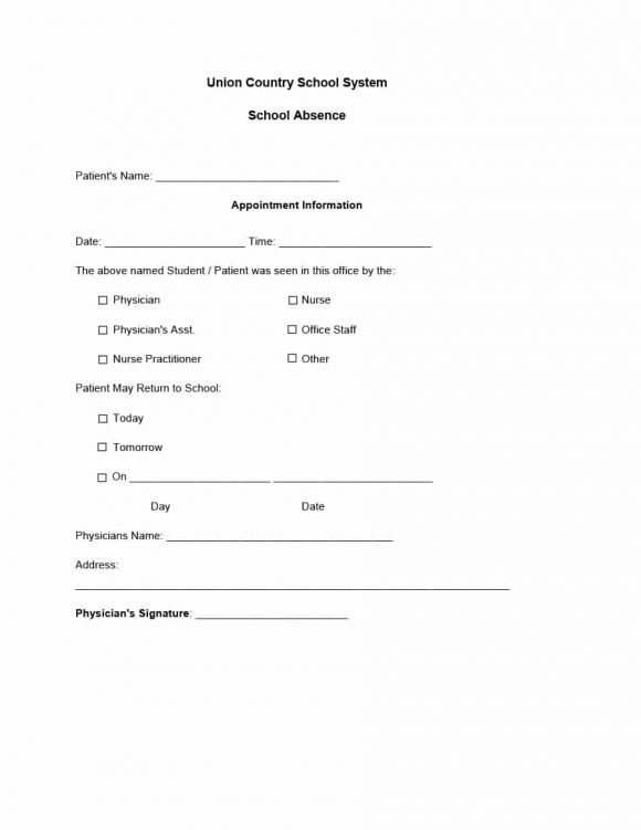 fake doctors note for school printable