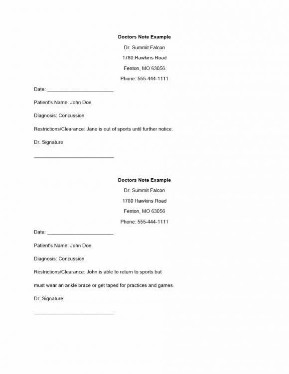 42 Fake Doctor\u0027s Note Templates for School  Work - Printable Templates - doctor note example