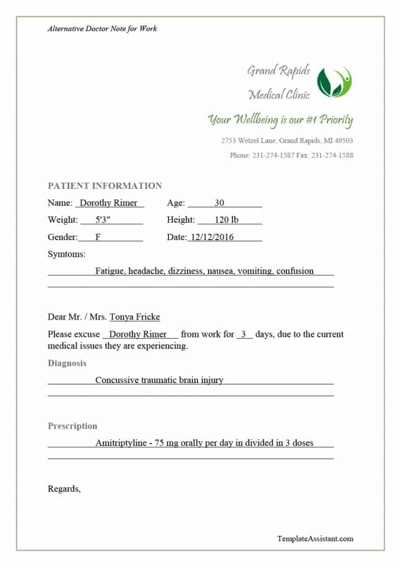 42 Fake Doctor\u0027s Note Templates for School  Work - Printable Templates - doctor note