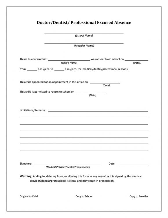 42 Fake Doctor\u0027s Note Templates for School  Work - Printable Templates