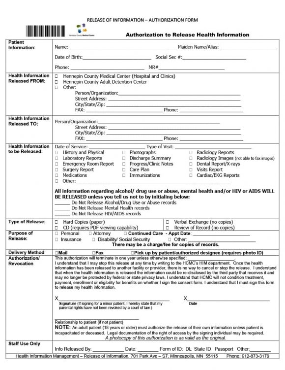 40+ Medical Records Release Form (Release of Information) - medical release of information form template