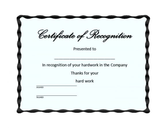 50 Free Certificate of Recognition Templates - Printable Templates - Examples Of Certificates Of Recognition