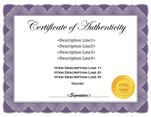 37 Certificate of Authenticity Templates (Art, Car, Autograph, Photo) - certificate of authenticity template