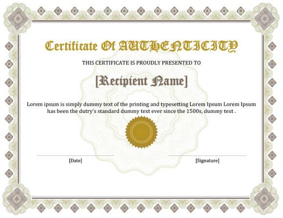 37 Certificate of Authenticity Templates (Art, Car, Autograph, Photo)