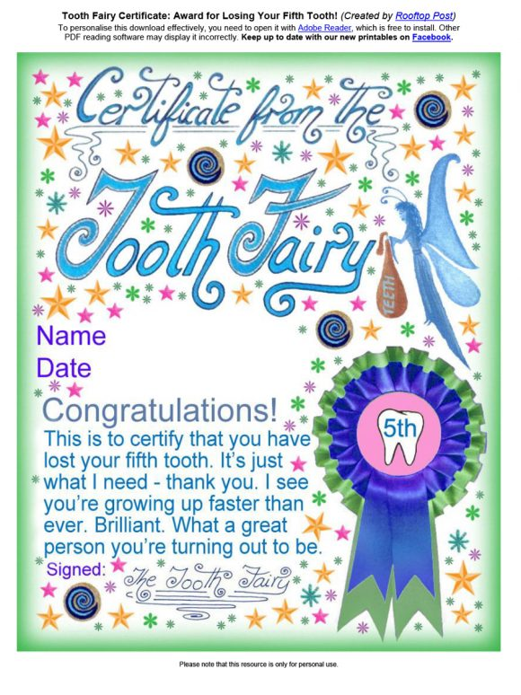 37 Tooth Fairy Certificates  Letter Templates - Printable Templates