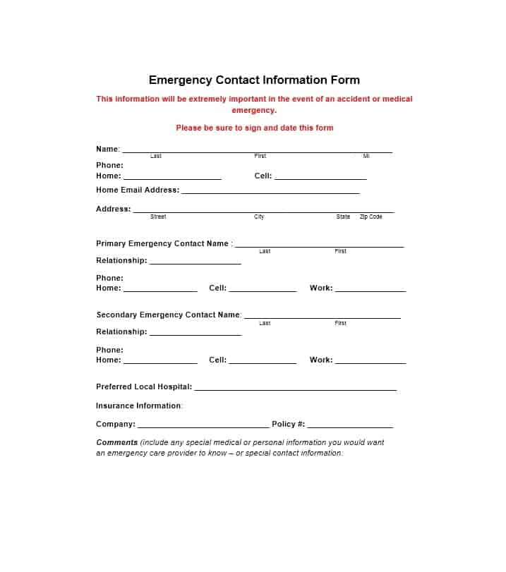 54 Free Emergency Contact Forms Employee / Student - contact information form