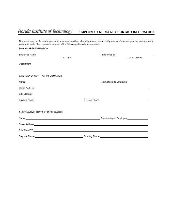 emergency contact form employee - Onwebioinnovate - emergency contact form