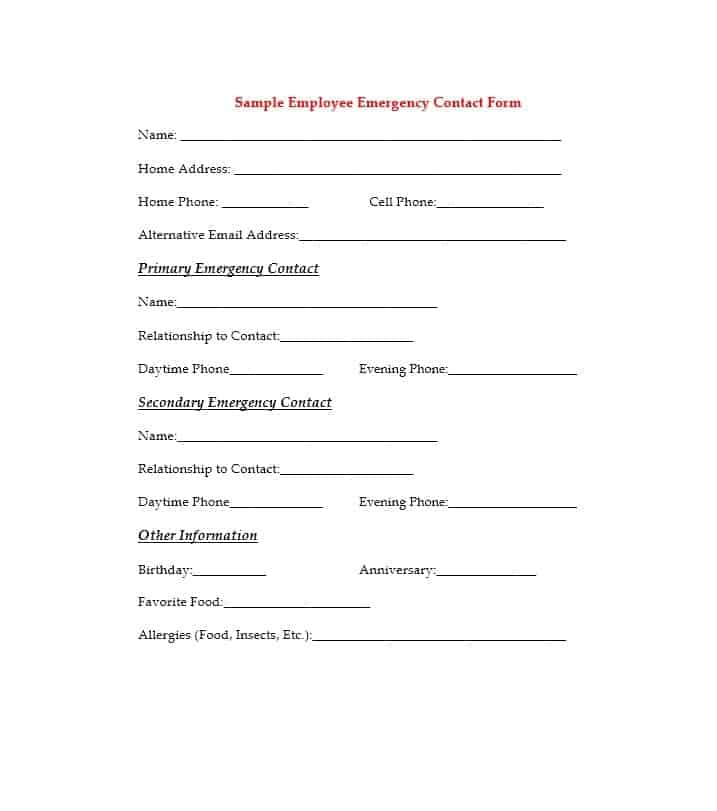 54 Free Emergency Contact Forms Employee / Student - emergency contact form template