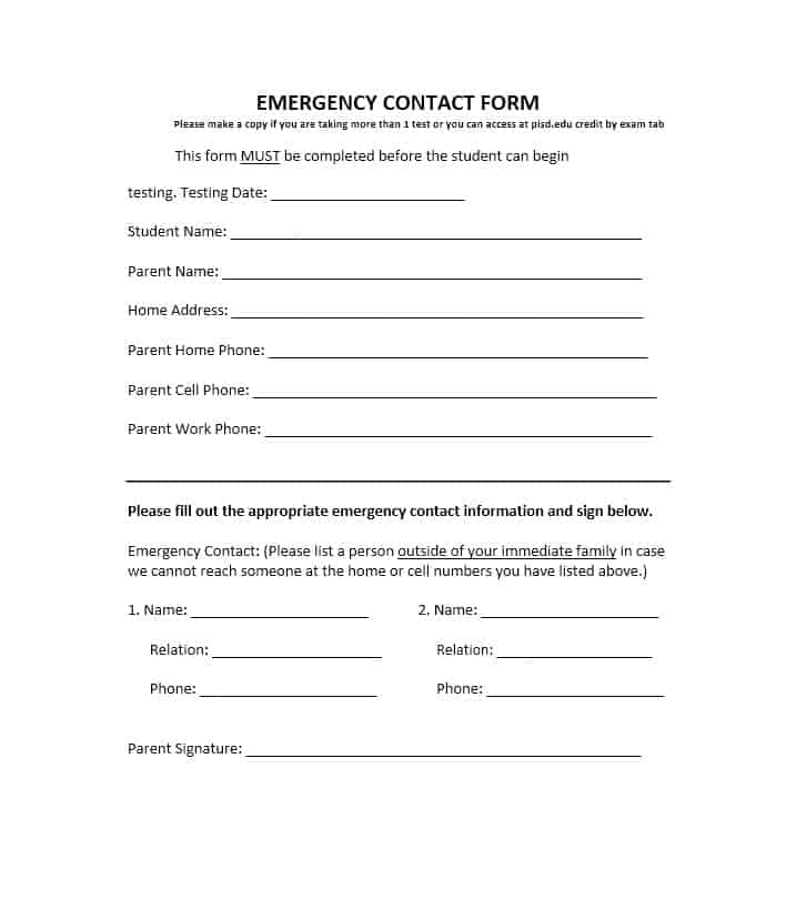 54 Free Emergency Contact Forms Employee / Student - emergency contact form