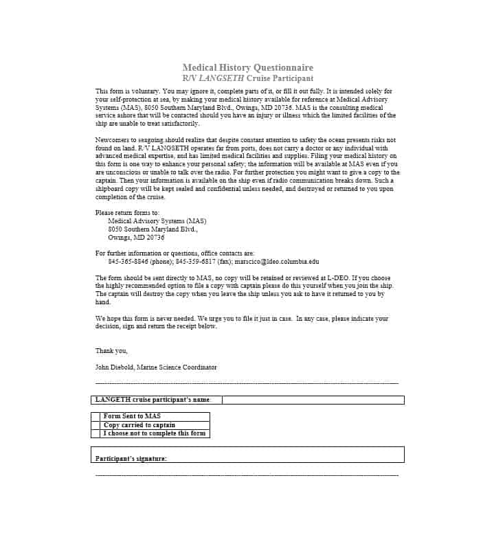 59 Health History Questionnaire Templates Family, Medical - Patient File Template