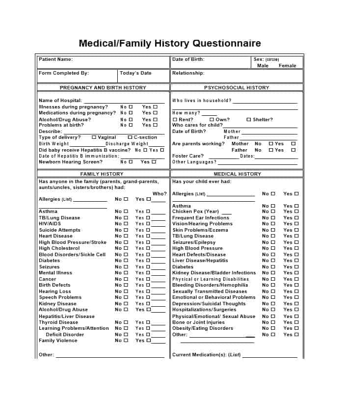 59 Health History Questionnaire Templates Family, Medical
