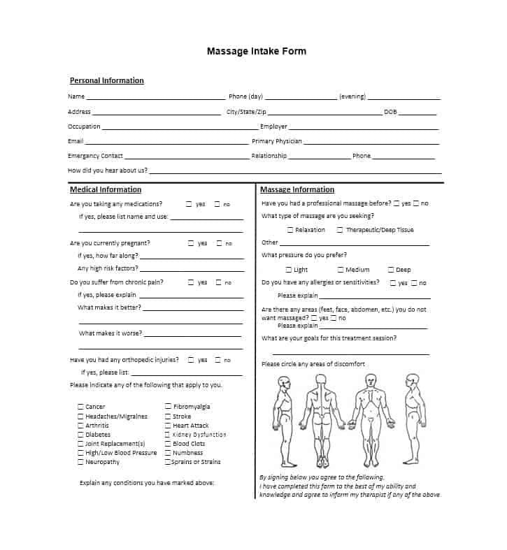 59 Best Massage Intake Forms for any Client - Printable Templates