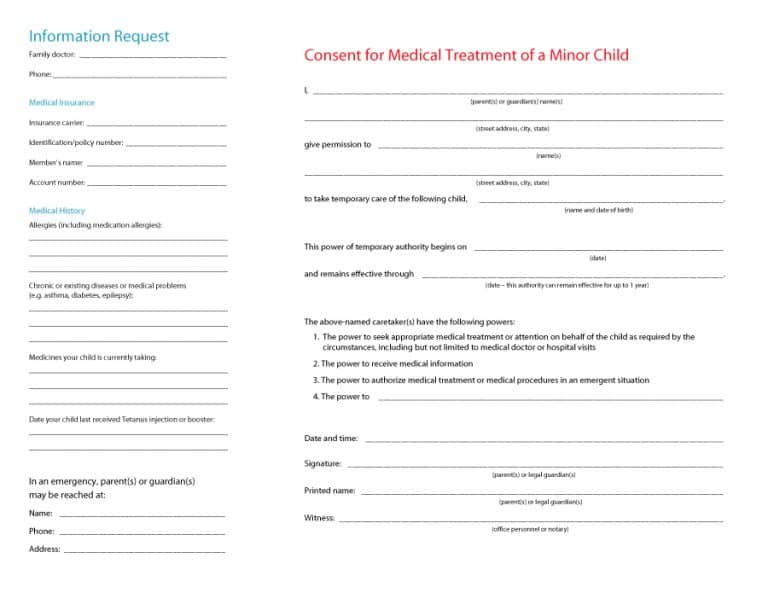 45 Medical Consent Forms 100 Free Printable Templates