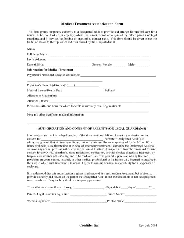 45 Medical Consent Forms (100 FREE) - Printable Templates - medical authorization form template
