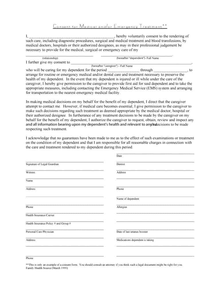 45 Medical Consent Forms (100 FREE) - Printable Templates