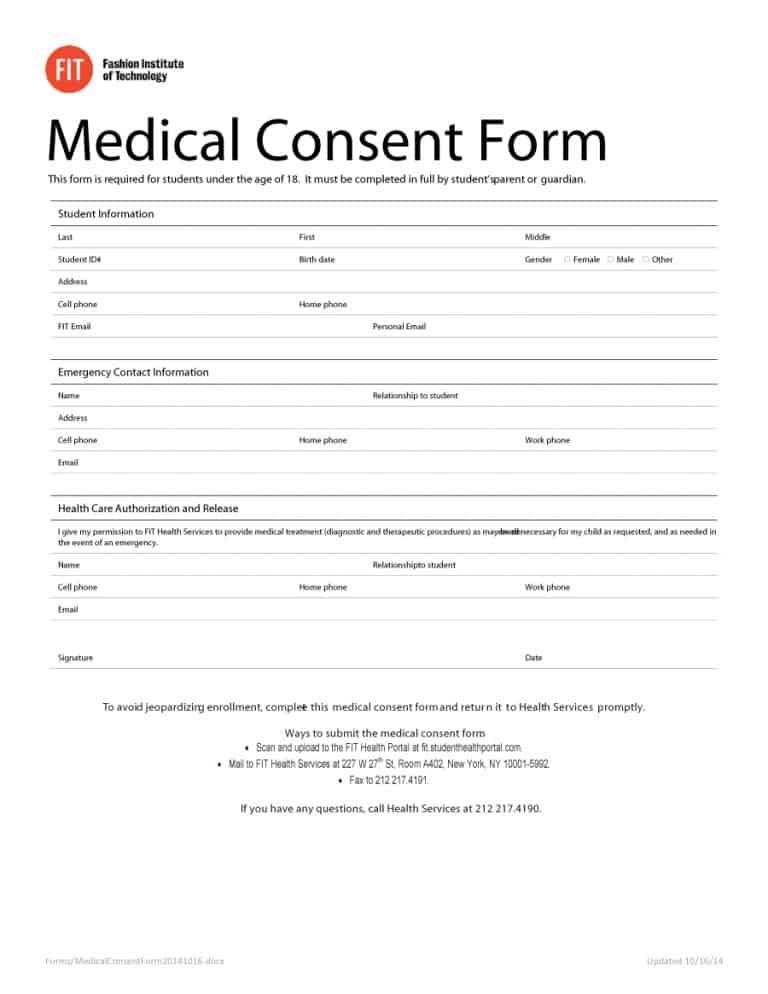 45 Medical Consent Forms (100 FREE) - Printable Templates - medical consent form