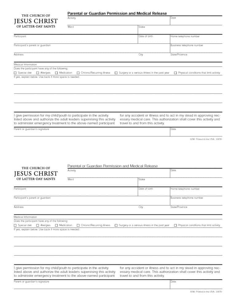 45 Medical Consent Forms (100 FREE) - Printable Templates - parental consent to travel form