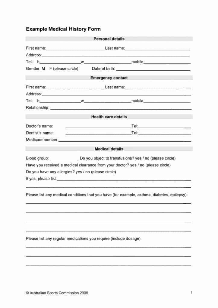 67 Medical History Forms Word, PDF - Printable Templates - Medical Templates For Word