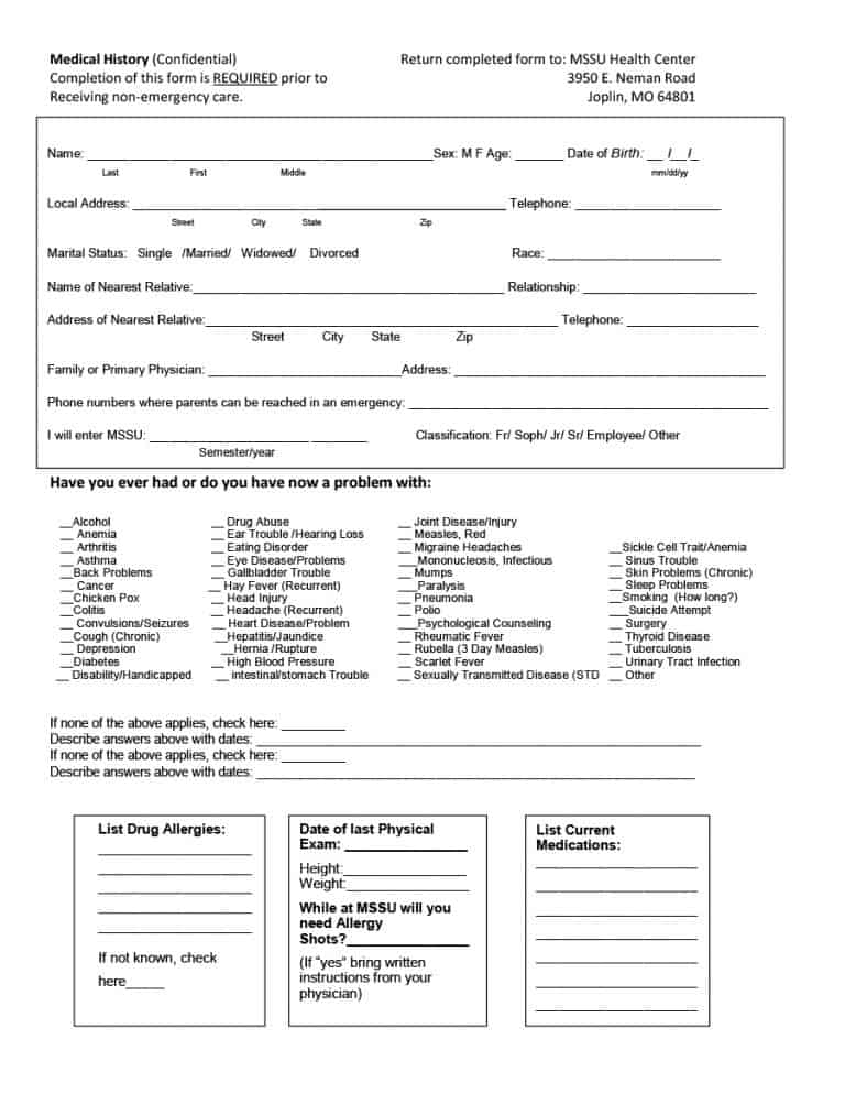 Eye Exam Form Template - ApigramcomMedical History Template - physical exam form