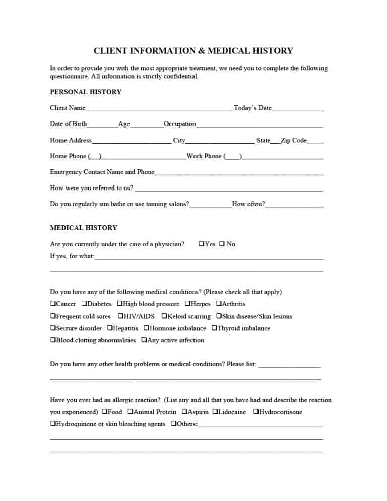 67 Medical History Forms Word, PDF - Printable Templates - client information form template