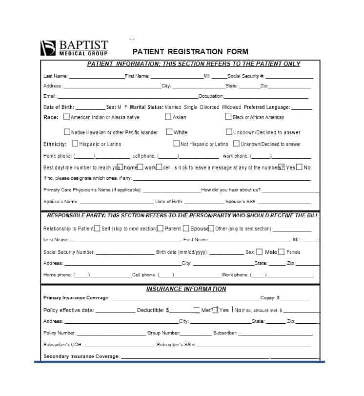 44 New Patient Registration Form Templates - Printable Templates