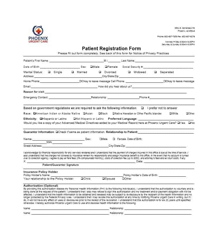 44 New Patient Registration Form Templates - Printable Templates - sample advance directive form