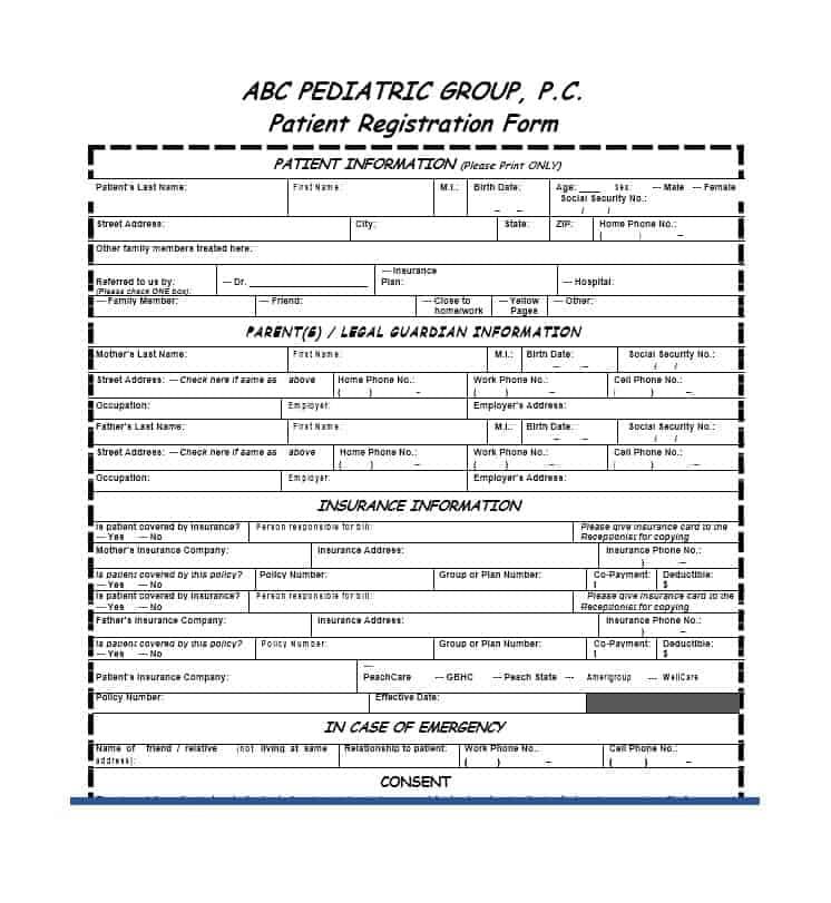 pediatric patient registration form template - Pinarkubkireklamowe
