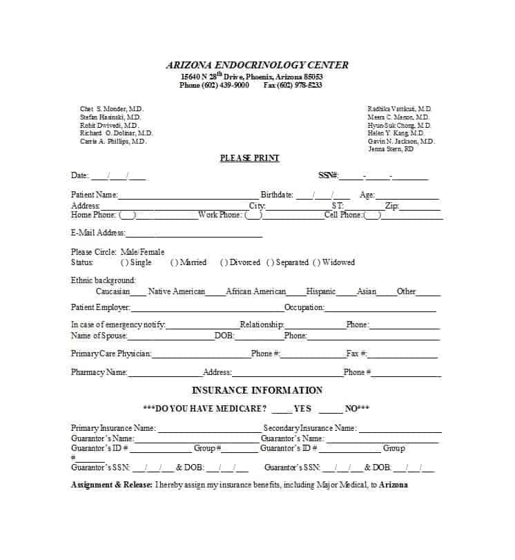 44 New Patient Registration Form Templates - Printable Templates