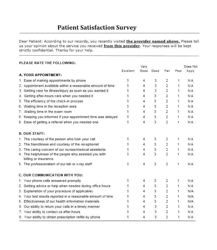 54 Effective Patient Satisfaction Survey Templates + Questions