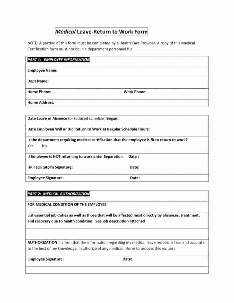 44 Return to Work  Work Release Forms - Printable Templates