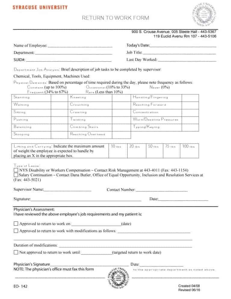 doctor release note - Josemulinohouse - return to work medical form
