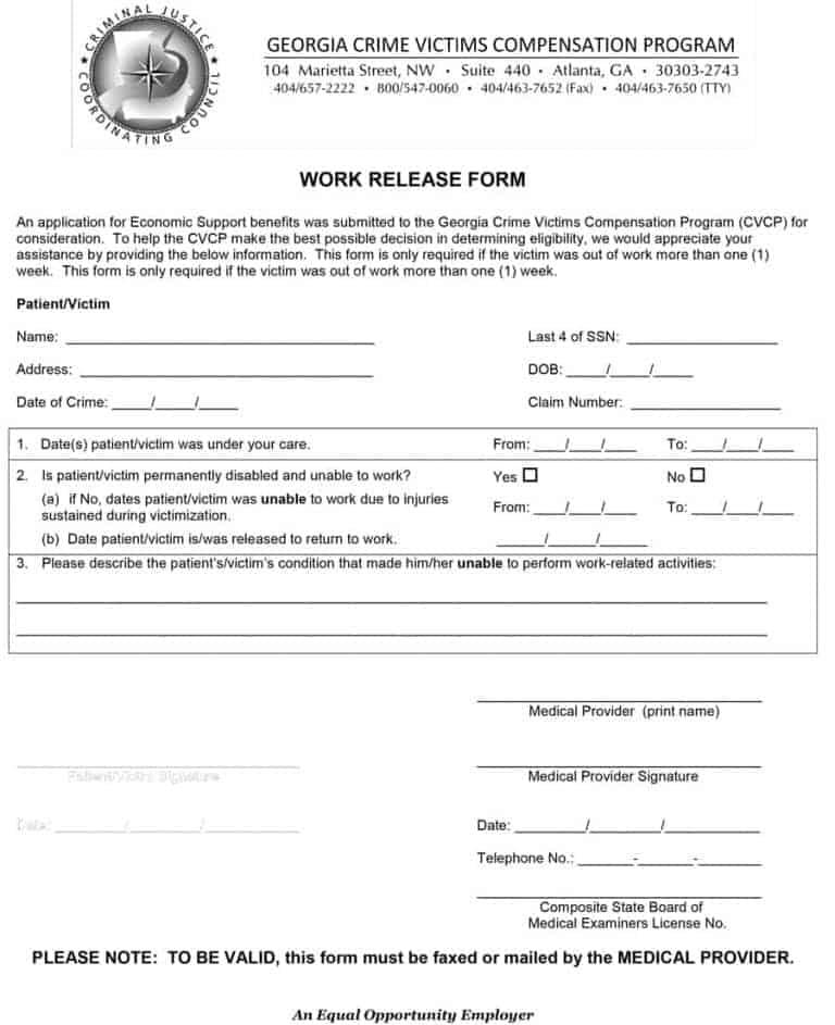 Return To Work Form Return To Work Medical Release Form Images Of - return to work form