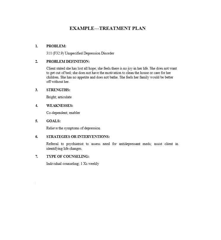 depression treatment plan template