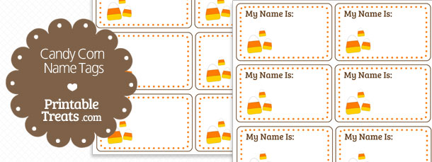 Teal Blue Color Candy Corn Name Tags — Printable Treats.com