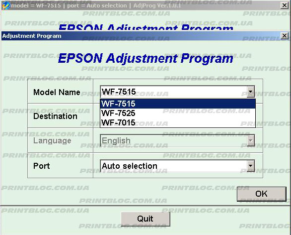 Adjustment program Epson WF 7515, WF-7015