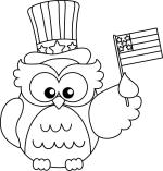 Independence Day Coloring Pages Owl