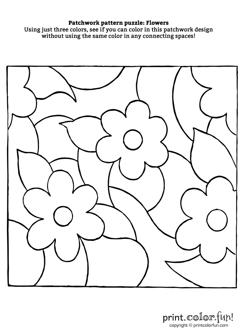 Patchwork pattern puzzle: Flowers