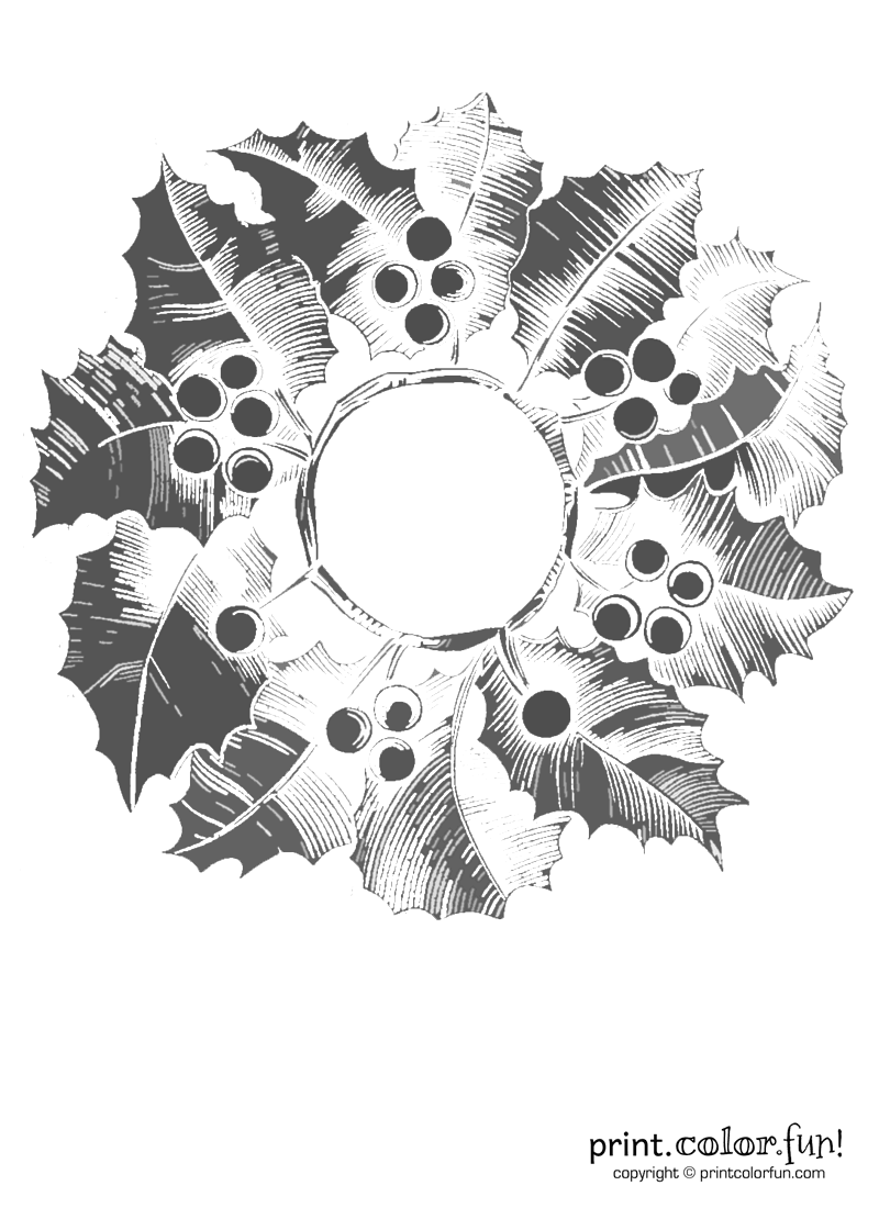 Wreath with holly from 1862