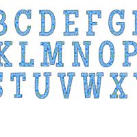Blue polka dot alphabet